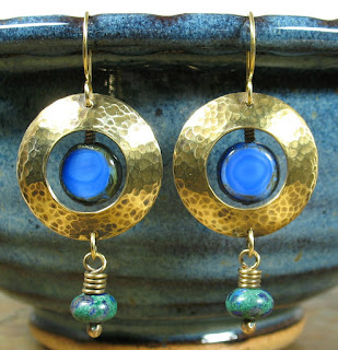 Libellula Jewelry:  Hammered brass, Czech Glass, & malachite azurite earrings