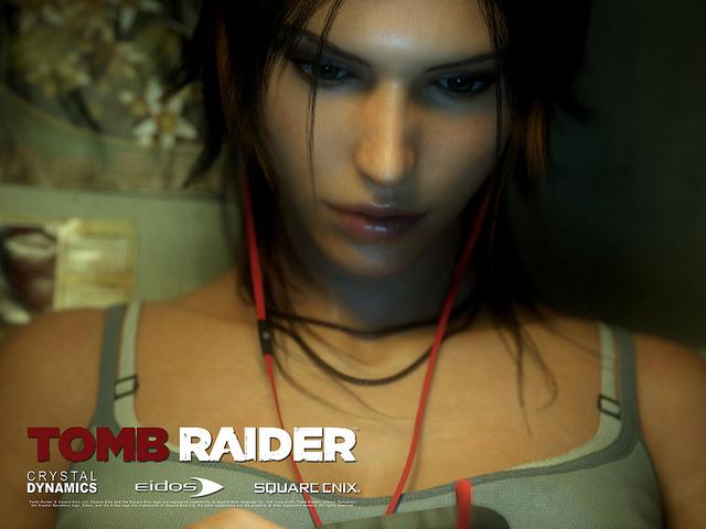 Lara Croft concentrada