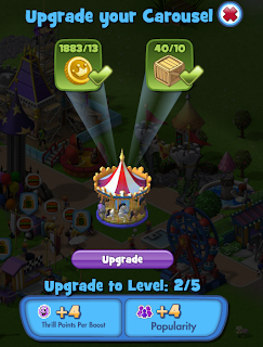 Coasterville Upgrade Screen carousel Zynga Facebook