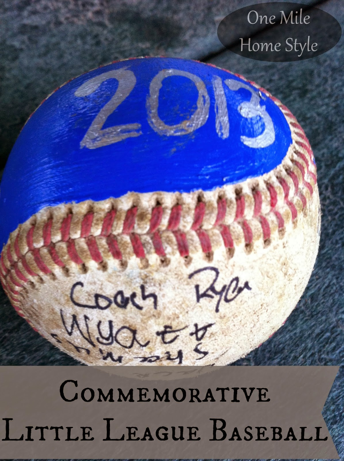 Commemorative Little League Baseball - End of Season Gift | One Mile Home Style