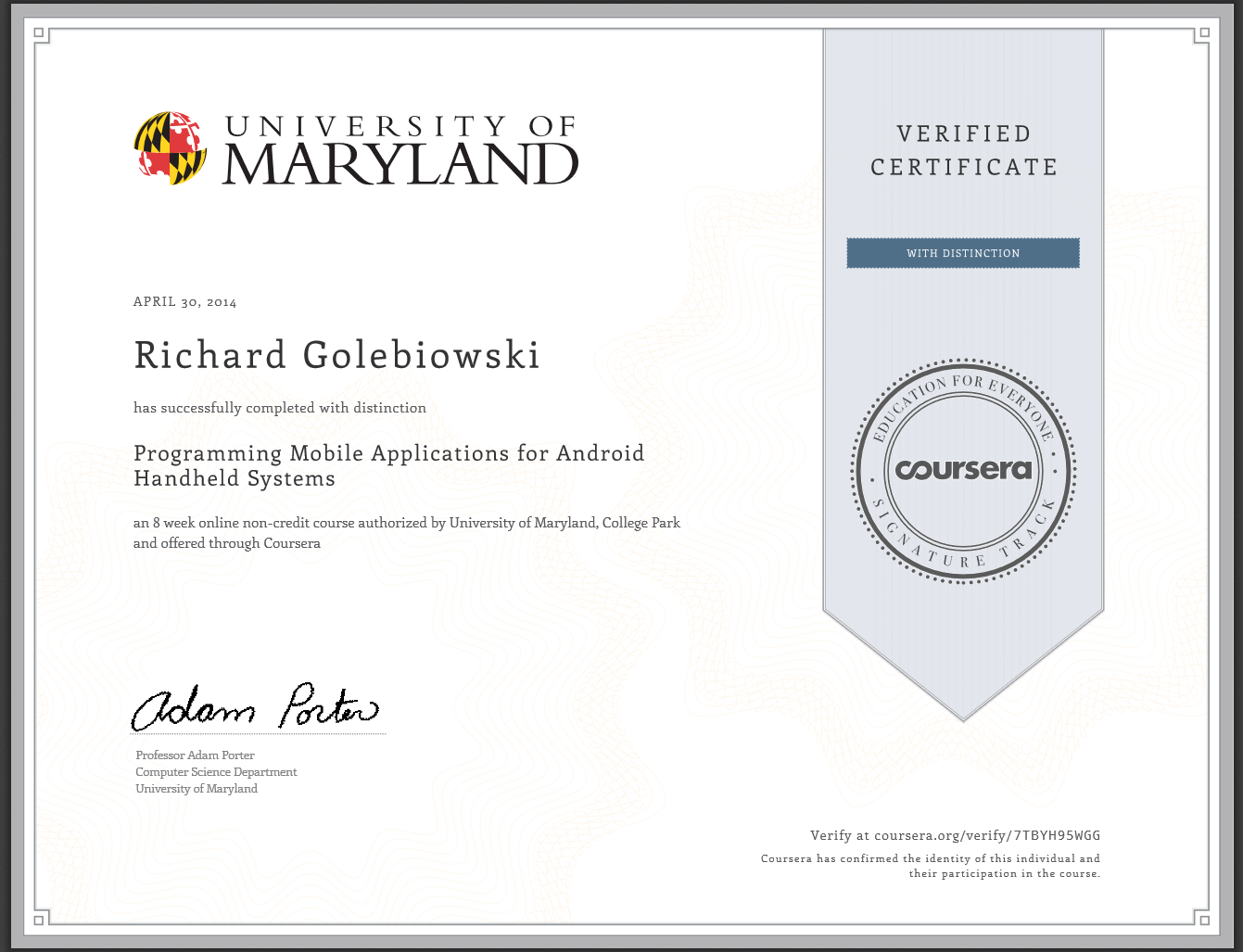 Richard Golebiowski Received Coursera Certificate For Programming
