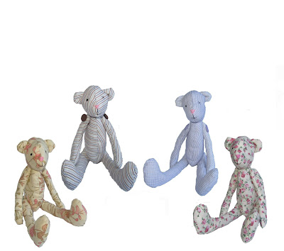 bears,sewn, handmade, buttons, thread, fabric, floral, stripe,