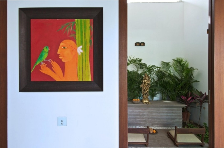 Wall painting in Courtyard Home by Hiren Patel Architects