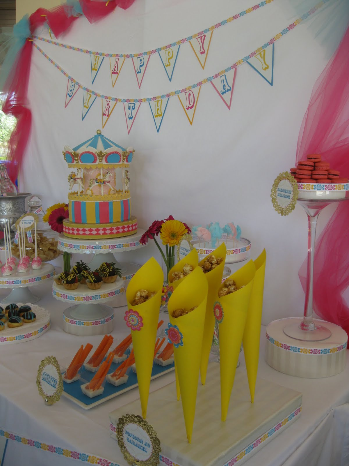 the treat table: carousel 5 year old girl party
