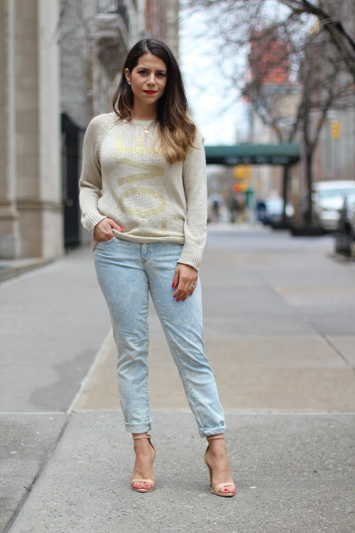 jcrew; GAP; ZARA; gap denim; fashion blogger; street fashion; how to wear bleached denim; spring fashion; zara heels; nude heels; new york; new york fashion blogger; how to wear a metallic sweater; casual fashion outfits; outfit to wear on the weekends; what to wear when seeing friends