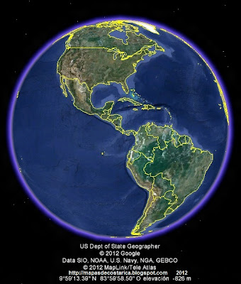 El Mundo, google earth, vista diurna, America