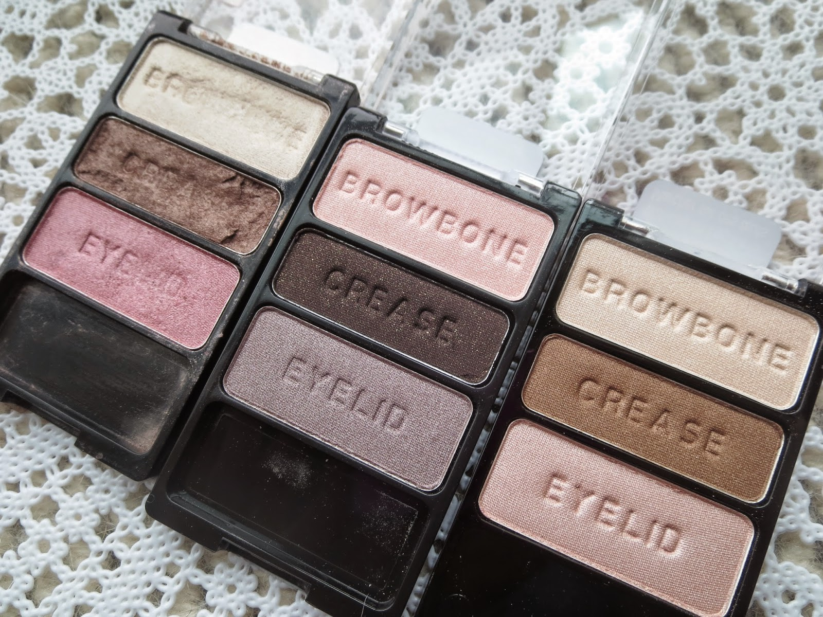 a picture of Wet n Wild Color Icon Eyeshadow Trio in Sweet As Candy, Silent Treatment, Walking on Eggshells