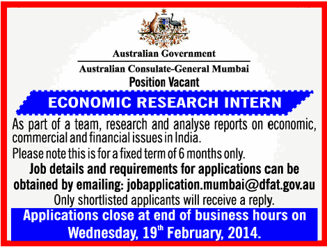 Jobs in Australian Consulate General Mumbai | Economic Research ...