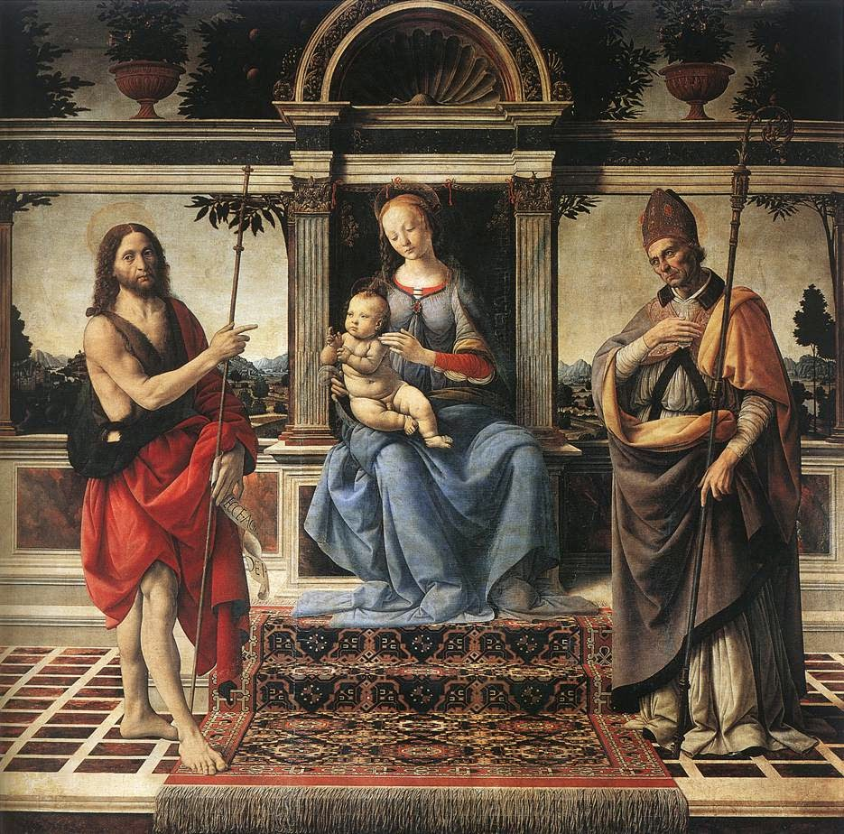 Virgen con Juan el Bautista y Donato de Fiesole. Verrocchio