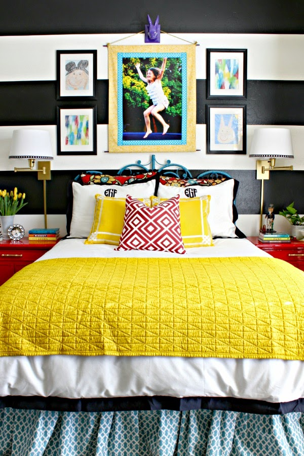 Black and White Striped Wall, Crane and Canopy Linden Bedding, Vintage Peacock Headboard, Glossy Red Bamboo Nightstands, Colorful Girl's Room, Teen Girl's Bedroom