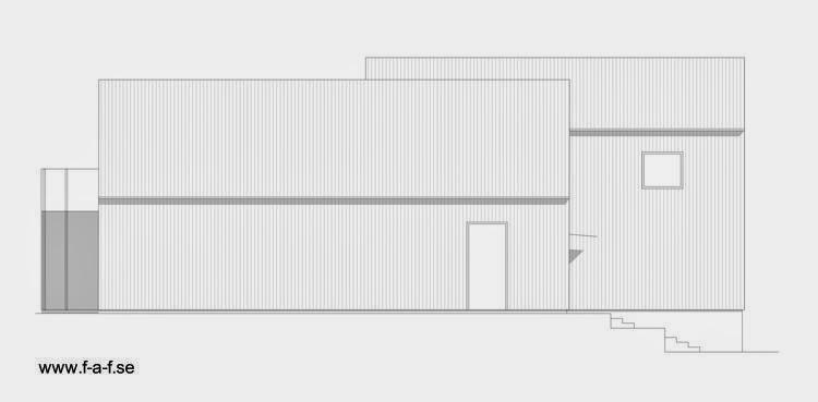 Plano de alzada oeste de la moderna casa