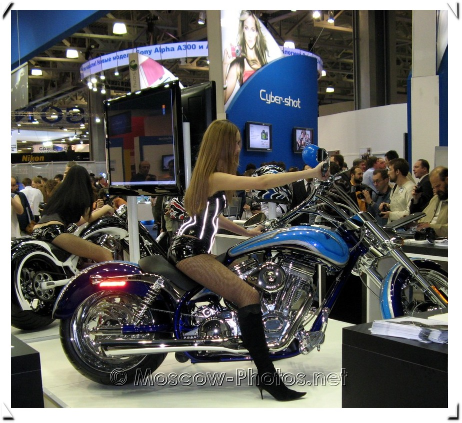 Girls on motorcycles at Photoforum - 2008