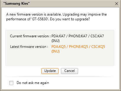 how tp update galaxy ace via kies