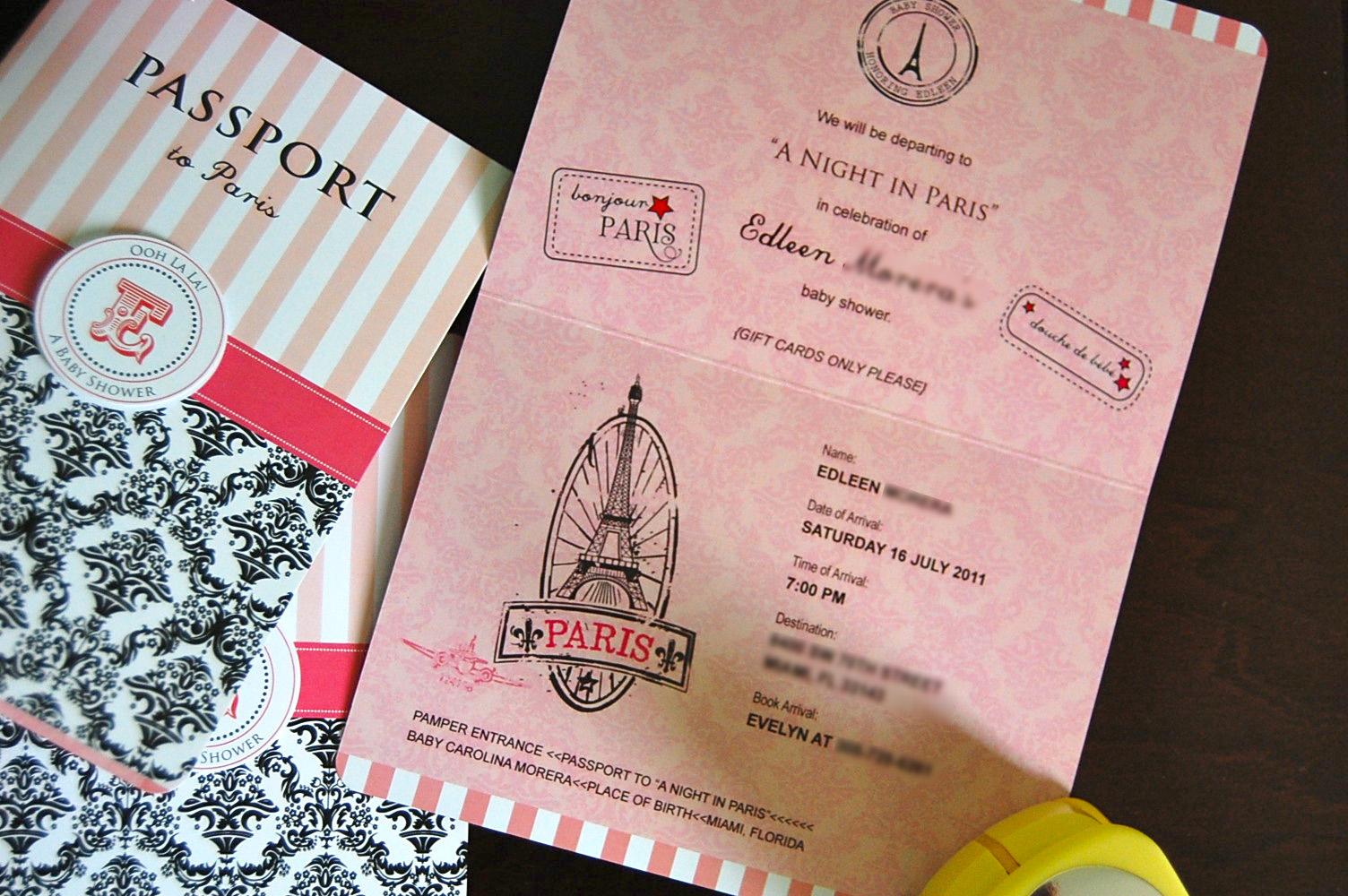 Updated Paris Passport Invitation Designs Personalized Invitations
