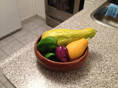home garden, vegetable garden, squash, green pepper, purple pepper