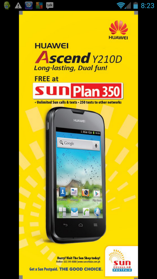 Sun cellular postpaid offers huawei ascend y210d free at for Sun mobile plan
