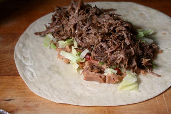 assembling the Shredded Beef Wet Burritos