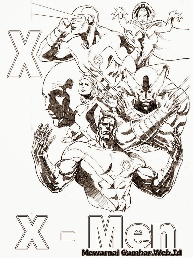 Belajar Mewarnai Huruf Alfabet X - X-Man