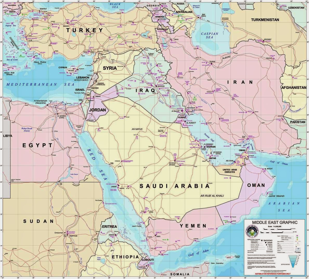 Middle East political map, simple printable version.