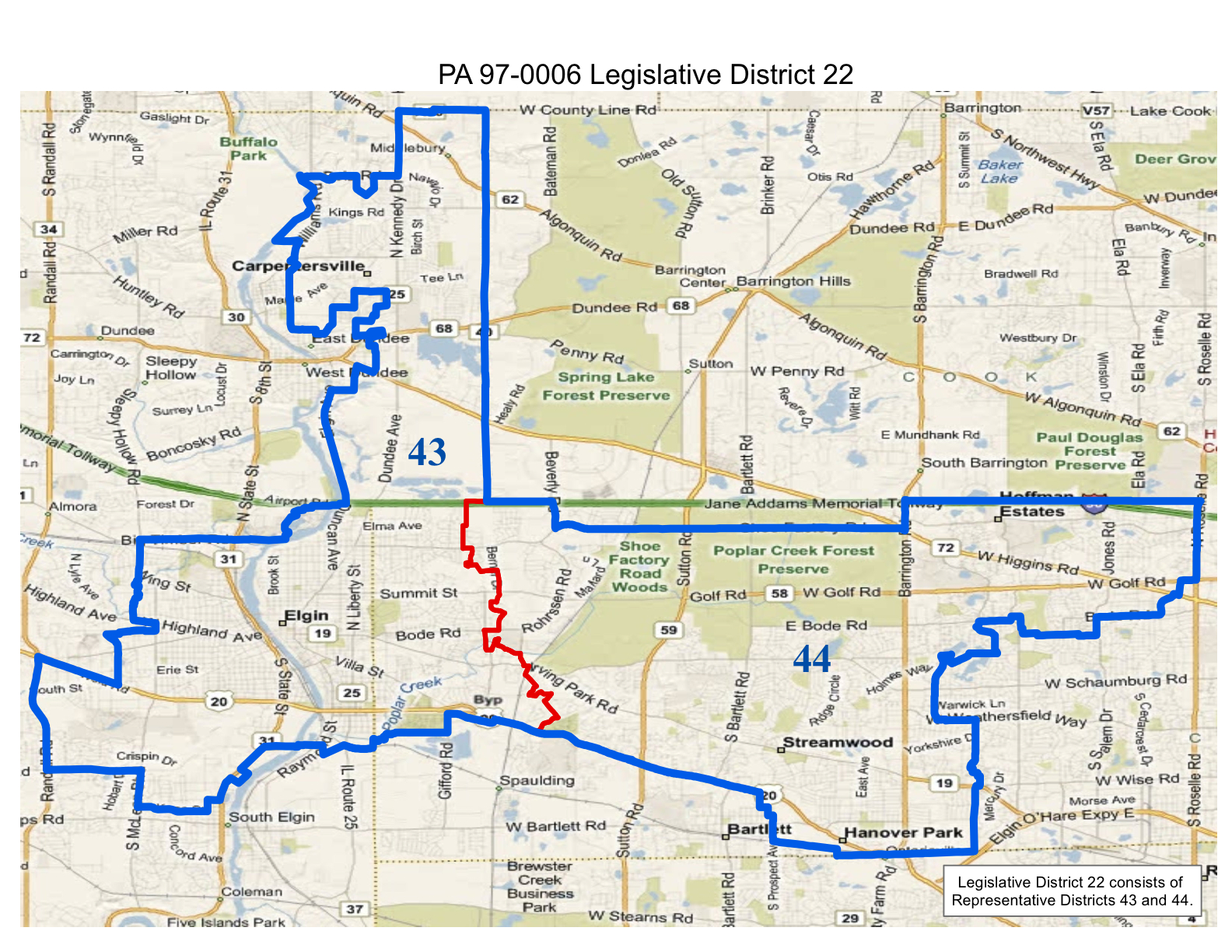 map of realigned illinois state legislative district 22 and state representative districts 43 and 44