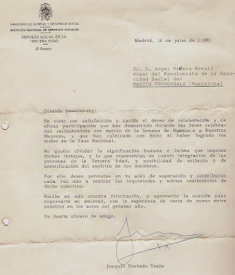 Carta del director del Ministerio de Sanidad a Ángel Ribera en 1980