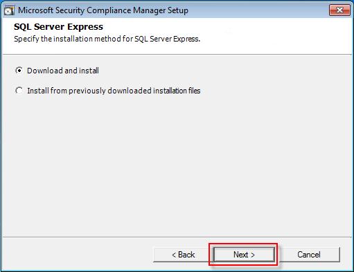 05 security compliance manager SQL setup