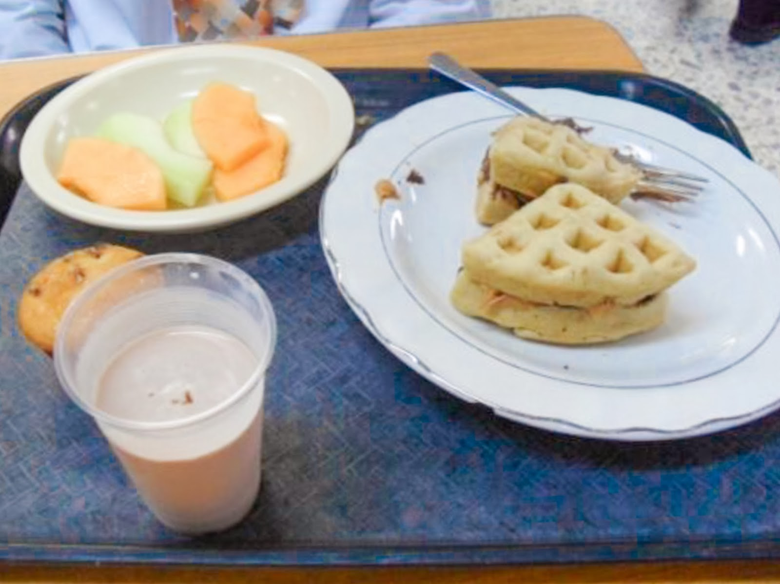 CCM Mexico MTC Breakfast waffles in the Cafeteria / Comedor