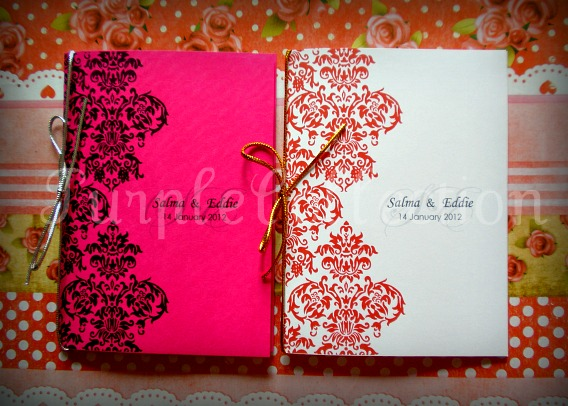 Damask Wedding Invitation Card, wedding invitation cards, malay wedding cards, damask shocking pink card