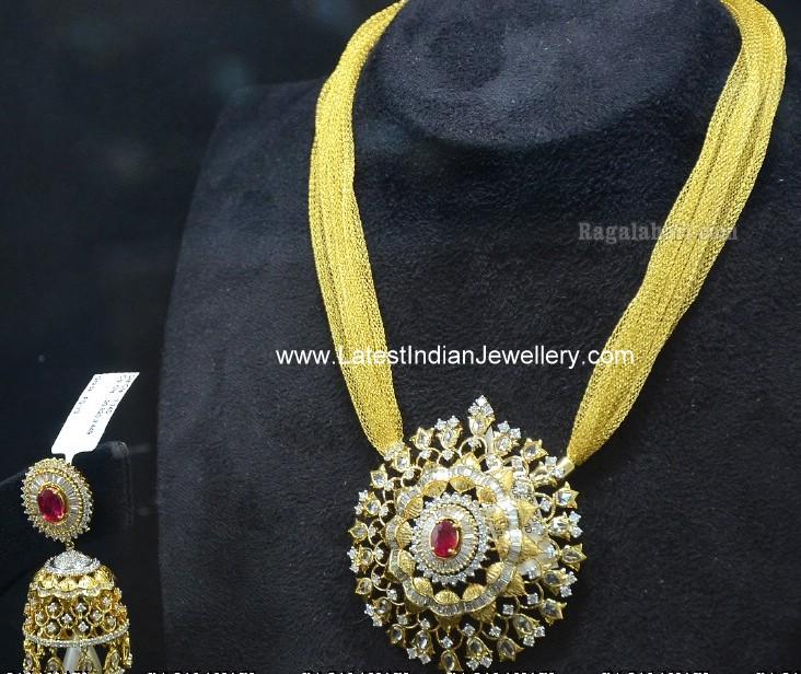 diamond pendant jhumka set with cloth chain