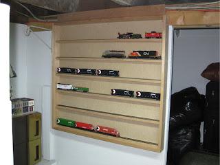 Installed model train display case