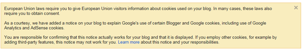 blogger notification to add cookie compliance