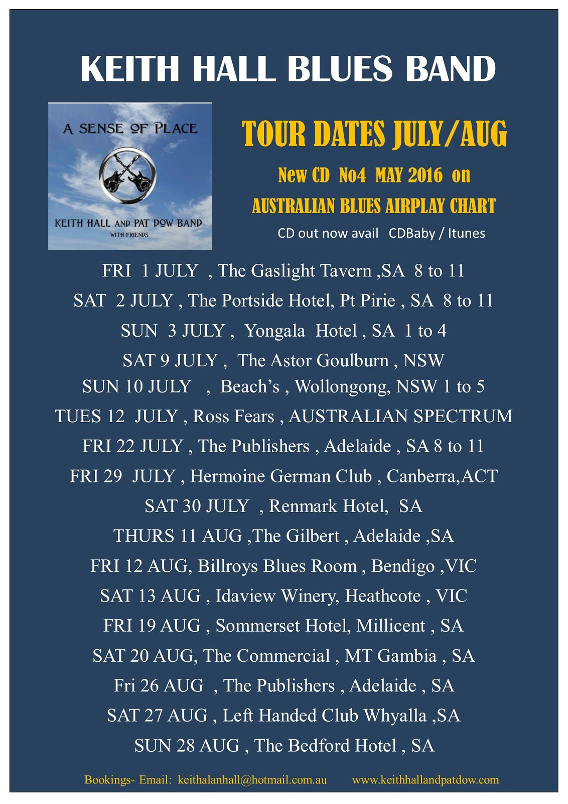 Adelaide roots and blues weekly gig blog we 24 july keith hall blues band the publishers adelaide 8pm malvernweather Gallery