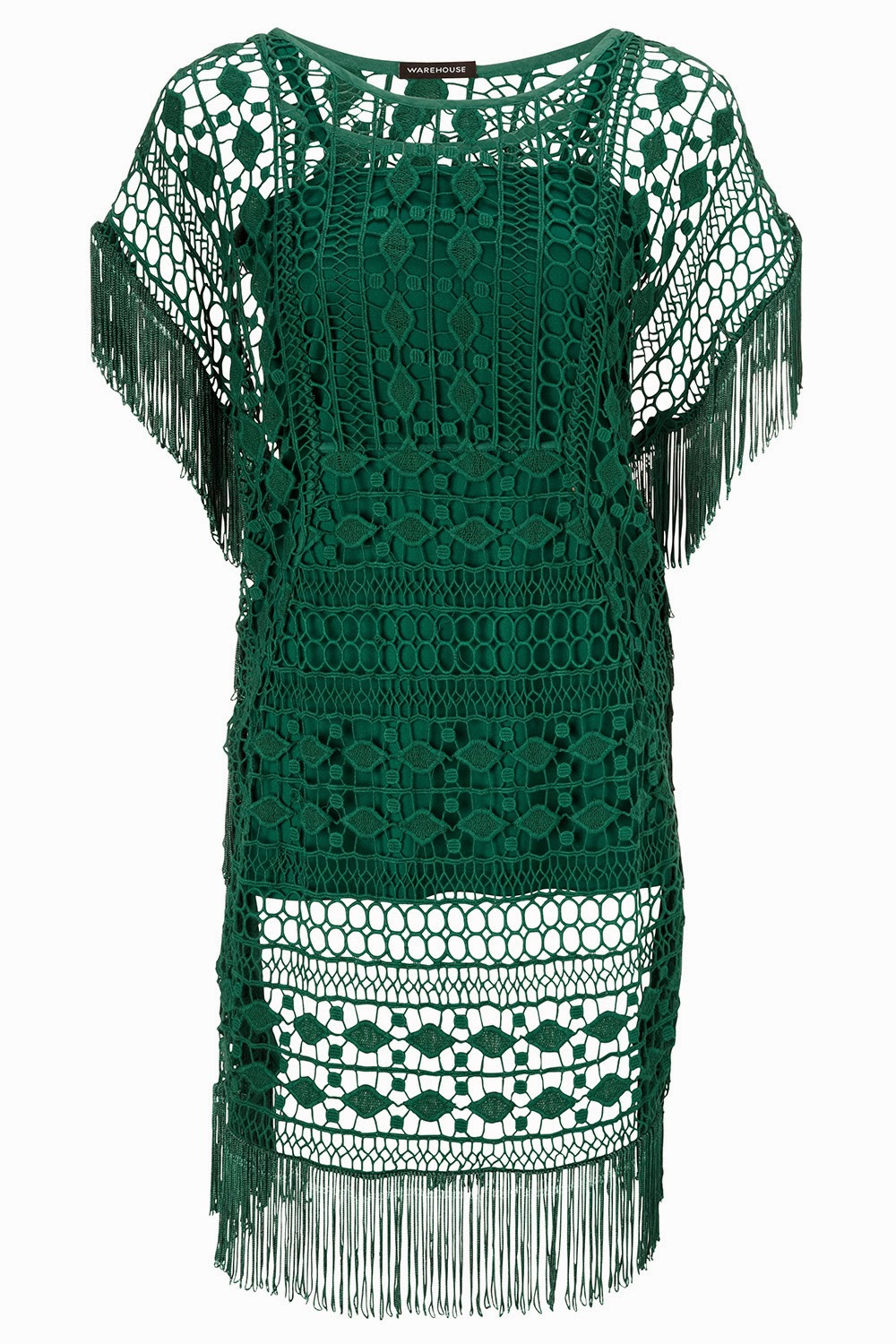 warehouse green crochet dress, green crochet dress, warehouse green fringed dress,