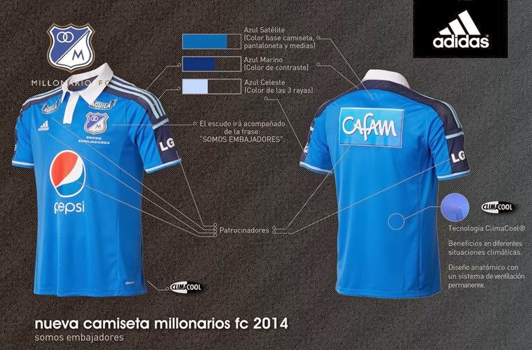 Yo soy de Millonarios Fútbol Club  Camiseta oficial para el 2014 8170769fe85