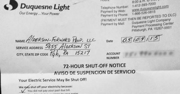 Leaking Bathroom Ceiling: Forward Management Pittsburgh 72 Hour Electric  Shut Off Notice