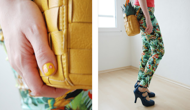 pineapple handbag, asos, fruits in fashion, tropical trousers
