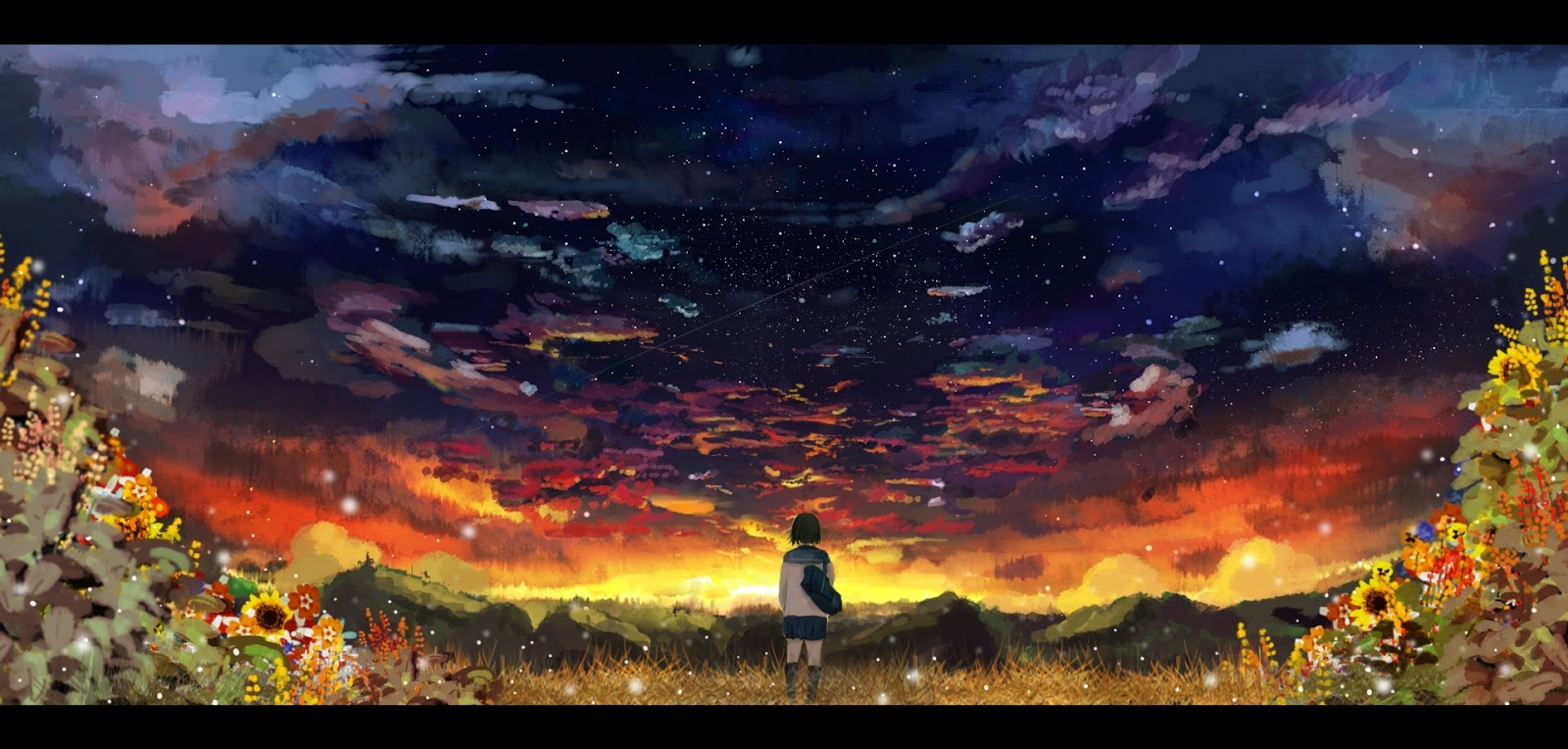 scenery flowers sky night clouds stars d27 wallpapers