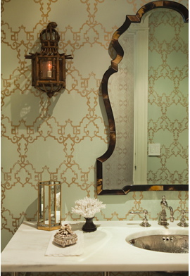 Pretty Green And Gold Wallpaper In A Bathroom By Thornton Designs