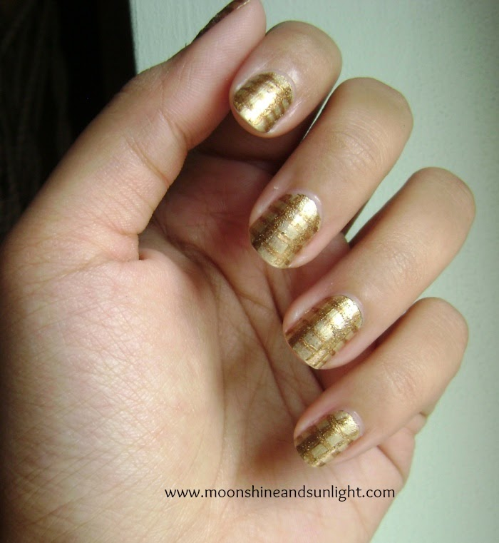 Gold on gold checkered nail art , check nail art , indian nail art blog