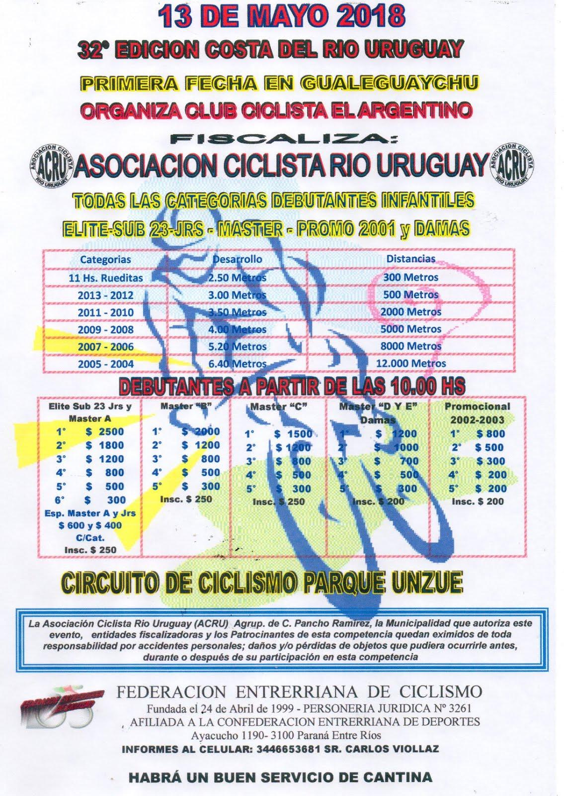 Costa del Rio Uruguay 2018 - NUEVA FECHA