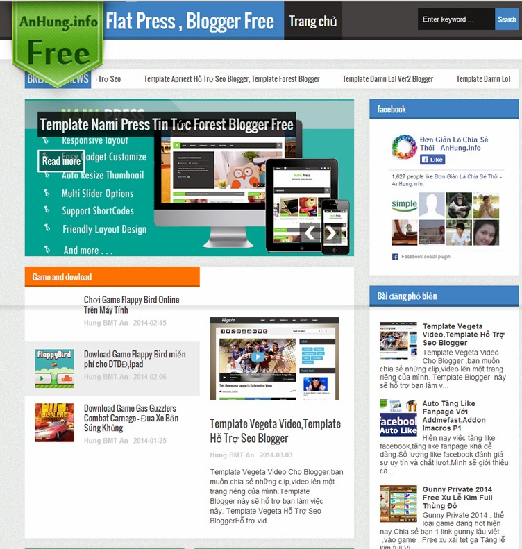 Template Flat Press hổ trợ seo Blogger