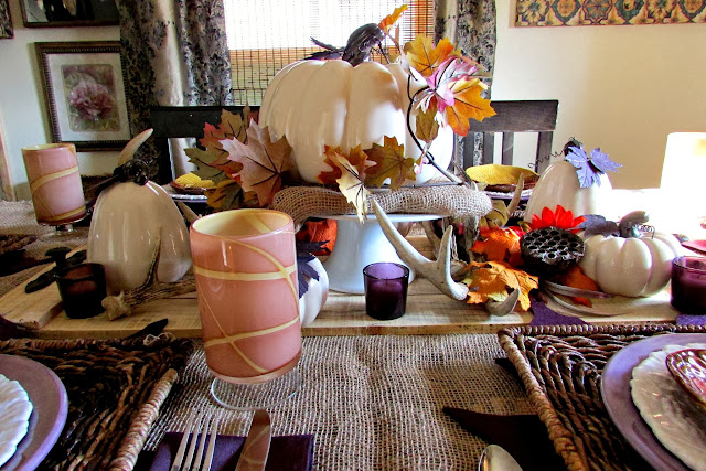 Thanksgiving  or Fall Tablescape with Antlers Pallet Wood and Pumpkins