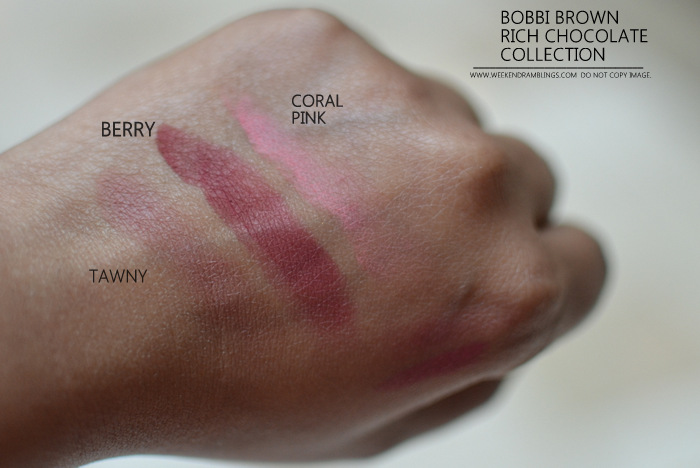 Bobbi Brown Rich Chocolate Makeup Collection Indian Darker Skin beauty Blog Swatches Blushes Tawny Coral Pink Berry