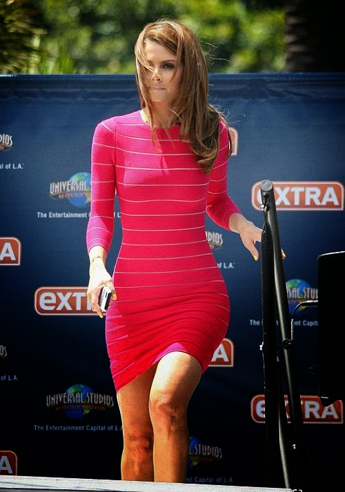 The television personality chooses six different dresses to step out in Extra TV show at Universal City, California on Thursday, June 12, 2014.