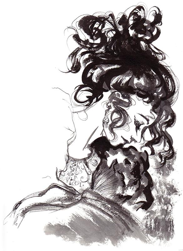 Un portrait de princesse à l'encre de chine
