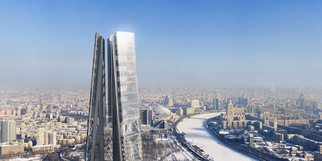 Photo showing Russia Tower spire with the frozen Moscow in the background