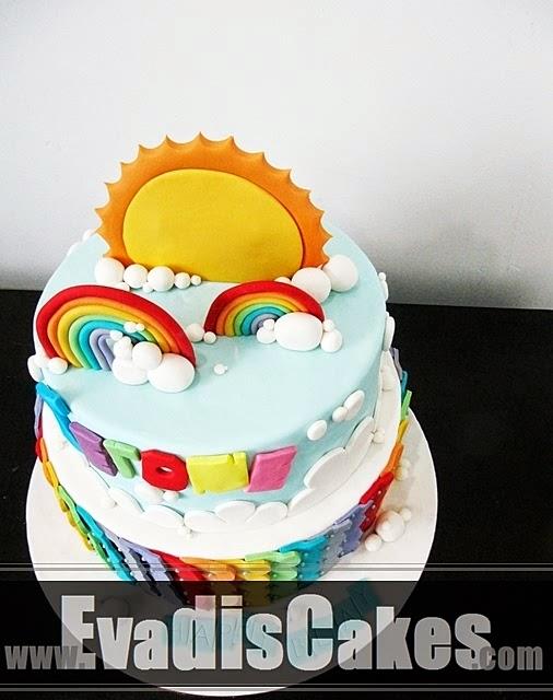 Top view of rainbow cake
