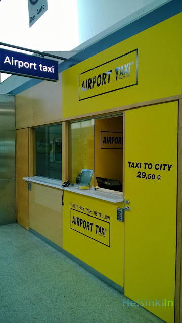 Yellow Line Taxi stand at Helsinki Vantaa Airport