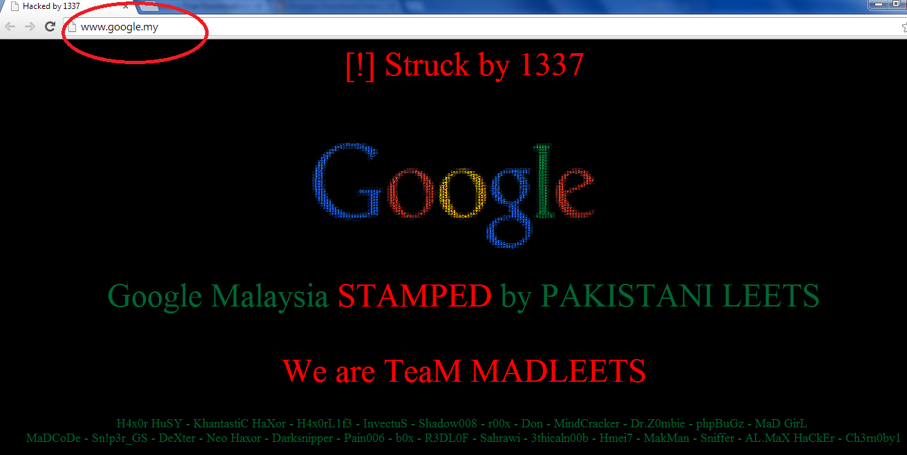 Google Malaysia Domain hacked by 1337, Google got hacked, Google Malaysia hacked, 1337 have hacked Council of Country Code Administrators Registry Services highest number of NIC server hacked, DNS Hijacking method, DNS poisoning, information security experts, information technology