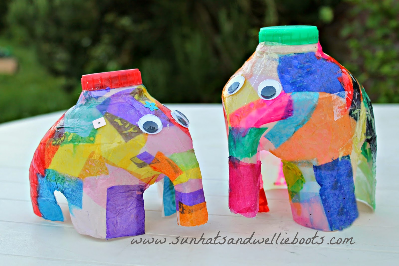 Sun hats wellie boots elmer the elephant lantern made for Things that can be made out of plastic bottles